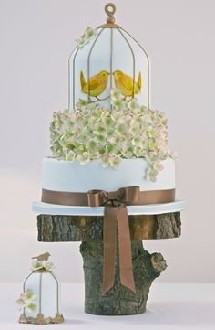 Vintage Birdcage Wedding Cake Design