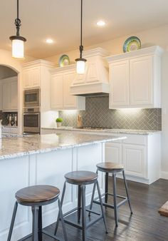 HerringBone Backsplash -- House of Turquoise: Interiors by Kathy Rollins