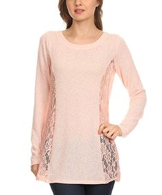 Loving this Rose Sheer Variegated Lace-Panel Top - Plus on #zulily! #zulilyfinds