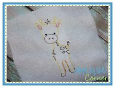 Giraffe Sketch Embroidery Design
