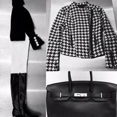 Cream #Paige Skinny Jeans, black jumper, black boots, #ArmaniExchange monochrome houndstooth jacket, black #HermesBirkin  #fashion #food #travel #lifestyle #London #blog #foodblogger #travelblogger #lifestyleblogger www.fizzoflife.com