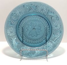 """Tiara Indiana Depression Glass Limited Edition Bicentennial Blue Sandwich Pattern 8 1/4"""" Salad Plate by VintageVybe on Etsy"""