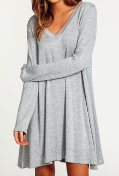 Casual V-Neck Long Sleeve Loose-Fitting Solid Color Dress