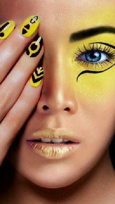 Make Up Art, Eye Make Up, Beauty Makeup, Face Makeup, Yellow Makeup, Fantasy Make Up, Nagellack Trends, Nail Swag, Maquillage Halloween
