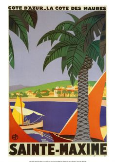 Vintage travel poster - South of France Sainte Maxime