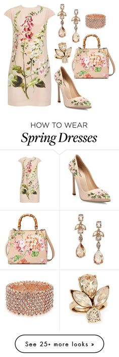 """Spring In Full Bloom"" by donnalynnginn on Polyvore featuring Ted Baker, Giambattista Valli, Oscar de la Renta, Gucci and Bling Jewelry"