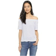 Splendid Striped Off Shoulder Tee (1.950.480 VND) ❤ liked on Polyvore featuring tops, t-shirts, white, striped t shirt, white tee, white t shirt, white short sleeve t shirt and white off shoulder top