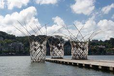 bloom pavilion interweaves bamboo rods on sai van lake in china - designboom | architecture