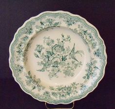 "Green Staffordshire Transferware Soup Bowl ""Asiatic Pheasants"""