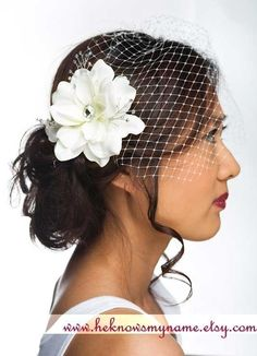 Garden Rose Headpiece and  Birdcage Veil  bridal by heknowsmyname, $69.00