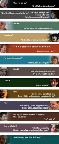 The first and last words of the various Doctors, from geektyrant.com's site. Some of these made me teary-eyed.