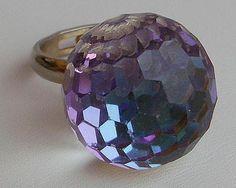 "60-70's Purple Watermelon Glass 'Disco' Ball 3/4"" Ring-Adjustable"
