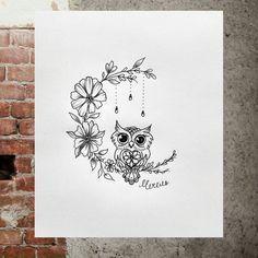 Cute owl sketch. Owl on a branch. #Tattoo #minimalism #Minitattoo #smalltattoo #Tattoos #flowers #owl #owlonthebranch #sketch #sketch owl