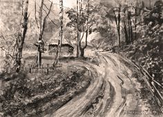 At the crossroads. Ink. Author: Witold Kubicha