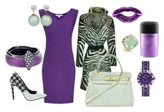 """purple multi"" by deirdre35 on Polyvore featuring Diane Von Furstenberg, Oscar de la Renta, Marco Moore, Christian Dior, Alexis Bittar, Hermès, MAC Cosmetics, Manic Panic, women's clothing and women's fashion"