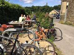 Bike racks outside Flask End café and shop at Lower Bradfield, Peak District National Park Peak District, Cyclists, Flask, National Parks, Bicycle, Shopping, Cafes, Bicycle Kick, Bottle
