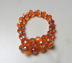 pulsera en cristales de muranos facetados diseño de color beads.