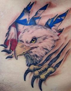 Check out our gallery of eagle tattoo designs for men and women. We delve into the meaning of eagle tattoos as well as their history. We also have a lot of photos of eagle tattoos for the arms, chest, sleeves, back and other body parts. Patriotische Tattoos, Head Tattoos, Body Art Tattoos, Tattoo Drawings, Tatoos, Wing Tattoos, Celtic Tattoos, Belly Tattoos, Art Drawings