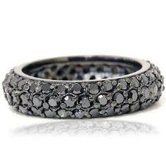 3.33 CT Black Diamond Pave Eternity Wedding Ring 14K Gold Anniversary Engagement.  List Price: $2,997.00  Savings: $1,998.00 (67%)