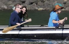 The Duchess of Cambridge could be seen giggling as she took to a 25ft Haida war canoe to a remote archipelago off the west coast of Canada