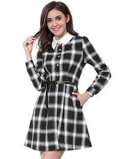 New Allegra K Women's Contrast Collar Button Down Belted Check Plaid Shirt Dress online. Find great deals on BEAUTYTALK Dresses from top store. Sku phvd11800hgrc63656