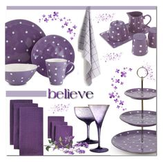"""""""Purple Dots in the Kitchen"""" by brendariley-1 ❤ liked on Polyvore featuring interior, interiors, interior design, home, home decor, interior decorating, Fitz and Floyd, Waterford, HAY and Maxwell & Williams"""