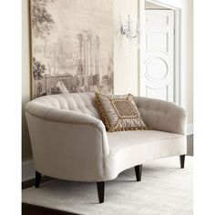 Old Hickory Tannery Anastacia Pearl Sofa found on Polyvore featuring polyvore, home, furniture, sofas, open white, white furniture, tufted furniture, hand made furniture, white couch and old hickory tannery furniture