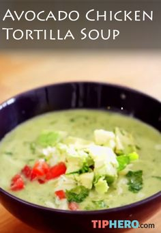 Avocado Chicken Tortilla Soup Recipe   Mix chicken, avocado and tomato and season with onion, garlic, jalapenos, cilantro, cumin and lime juice to make this deliciously satisfying soup. Click to watch the short how-to video. #familydinner