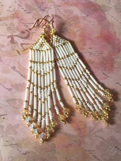 Seed Bead Fringe Earrings Long Cream and Gold by WorkofHeart