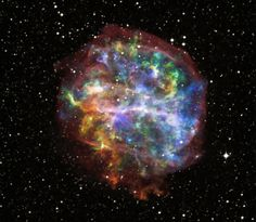 G292.0+1.8 : Supernova Remnant - Exploding about 1,600 years ago, this supernova remnant is around 20,000 light-years away in the southern constellation Centaurus. It has a rapidly spinning star near its center, PSR J1124-5916, or pulsar. In this composite : blue / silicon & sulfur, green / magnesium & white, yellow and orange / oxygen
