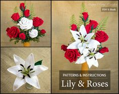 Crochet Flower Pattern Collection - Crochet Lily & Roses for Bouquets, Decoration, Hair Flowers and Brooches  - Wedding Flowers
