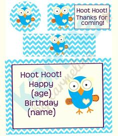 Giggle and Hoot Owl Inspired Personalised birthday cupcake toppers, water bottle labels, thank you'd and birthday sign! Digital image purchase- print as many as you need! -Karma by Carmelina Birthday Name, Birthday Cupcakes, 1st Birthday Parties, Party Party, Party Ideas, Water Bottle Labels, Masons, Digital Image, Cupcake Toppers