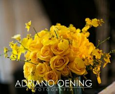 Yellow Roses + Yellow Oncidium Orchids Wedding Bouquet