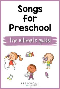 Preschool songs can be used at any time of day! They can help children get moving, get through the rough transitions, teach children new concepts, and more! If you've been looking for the ultimate guide of preschool songs, here they all are in one place! Preschool Music Lessons, Movement Preschool, Preschool Library, Preschool Learning Activities, Music Activities, Fun Activities For Kids, Preschool Classroom, Teaching Kids, Kids Fun