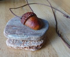 Unique hand-crafted, adjustable length, acorn pendant. Excellent for a gift for forest and nature lovers. Easy to match with every outfit, earthy