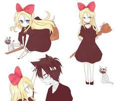 Ray as Kiki and Zack as her cat Anime Crossover, Anime Couples, Anime Art, Manga Art, Manga Anime, Kaito, Kawaii, Fandom, Satsuriku No Tenshi
