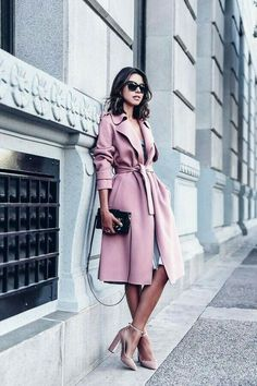 May be one of my favorite outfits of all time - pink trench coat that was the perfect shape paired with a silk slip dress underneath and a pair of velvet pink heels Mode Outfits, Fashion Outfits, Womens Fashion, Fashion Trends, Fashion News, Winter Outfits, Fasion, Pink Winter Dresses, Pink Dress