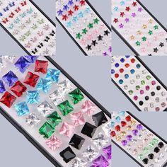 Charms Womens 40pcs/Box Crystal Ear Studs 925 Sterling Silver Earrings Jewellery