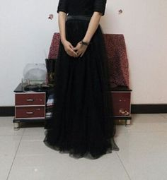 BLACK tulle skirt   Adult Knee Length Black Tulle by qinghome