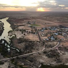 View from the chopper where I've been living for the past few days... Birdsville on the edge of no where #Australia #Birdsville #chopper #sunset by nick_thehunter