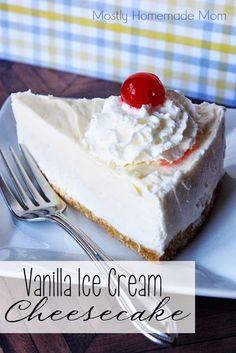 Vanilla Ice Cream Cheesecake - ice cream cake and cheesecake lovers unite with this one amazing dessert! Frozen Desserts, Frozen Treats, Just Desserts, Delicious Desserts, Summer Desserts, Cheesecake Ice Cream, Cheesecake Recipes, Dessert Recipes, Cream Cake