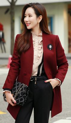 StyleOnme_Scarf Set V-Neck Collarless Coat #winered #fallcolor #chic #formal #elegant #feminine #koreanfashion #kstyle #formal #dailylook #pretty