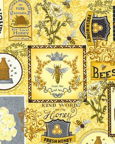 eQuilter Kaffe Fassett's Quilts in the Cotswolds Yellow Quilts, Orange Quilt, Beehive Image, Bee Activities, Bee Wings, Bee Fabric, Buzzy Bee, I Love Bees, Bee Cards