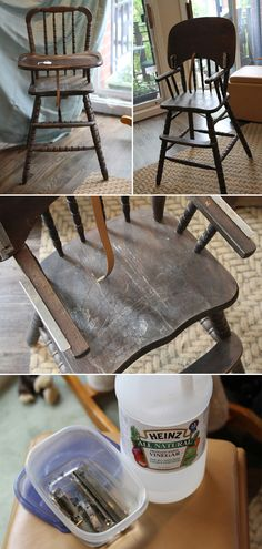 A step by step guide to refinishing a Jenny Lind high chair - step 1: cleaning