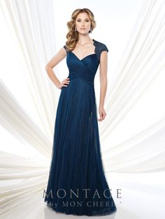 Montage by Mon Cheri - 215920 - Soft tulle A-line gown with lace illusion cap sleeves, Queen Anne neckline, ruched crisscross bodice, lace illusion back, finely gathered skirt, sweep train. Matching shawl included.Sizes: 4 - 20, 16W - 26WColors: Mink, Navy Blue, Raspberry