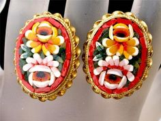 Vintage Red Micro Mosaic Earrings Oval Italian Italy Floral Gilded Brass Flower | eBay