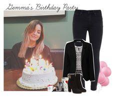 """Gemma's Birthday Party"" by giovannacarlamalik ❤ liked on Polyvore featuring Paige Denim, H&M, True Decadence, Salvatore Ferragamo, LORAC and Victoria's Secret"