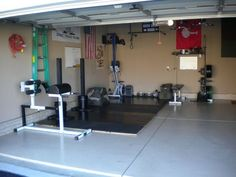 Garage gym ideas and equipment packages can be bought at affordable prices and a home gym such as this one put together.