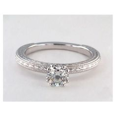 Etched Rope Solitaire Diamond Engagement Ring in Split Prong Setting