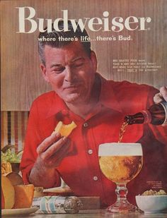 """Description: 1961 BUDWEISER vintage print advertisement """"where there's life ... there's Bud""""-- Who enjoys food more than a man who drinks beer! And when his beer is Budweiser ... well, that's the greatest. -- Size: The dimensions of the full-page advertisement are approximately 11 inches x 14 inches (28cm x 36cm). Condition: This original vintage advertisement is in Very Good Condition unless otherwise noted ()."""